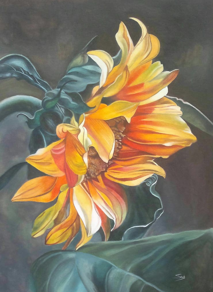 Sunflower (The symbol of hope):  Artwork by Indian Art Ideas