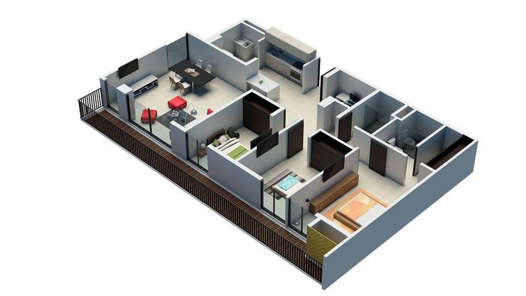 URB. BALCONES DE FLOR AMARILLO:  de estilo  por MC Arquitectos, Moderno