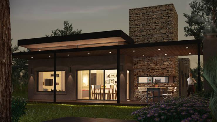 Nocturno con luces prendidas: Casas de estilo  por OX Render