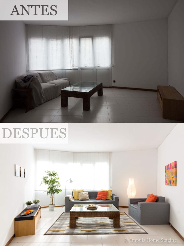 Home Staging con sofás de cartón:  de estilo  de Impuls Home Staging en Barcelona
