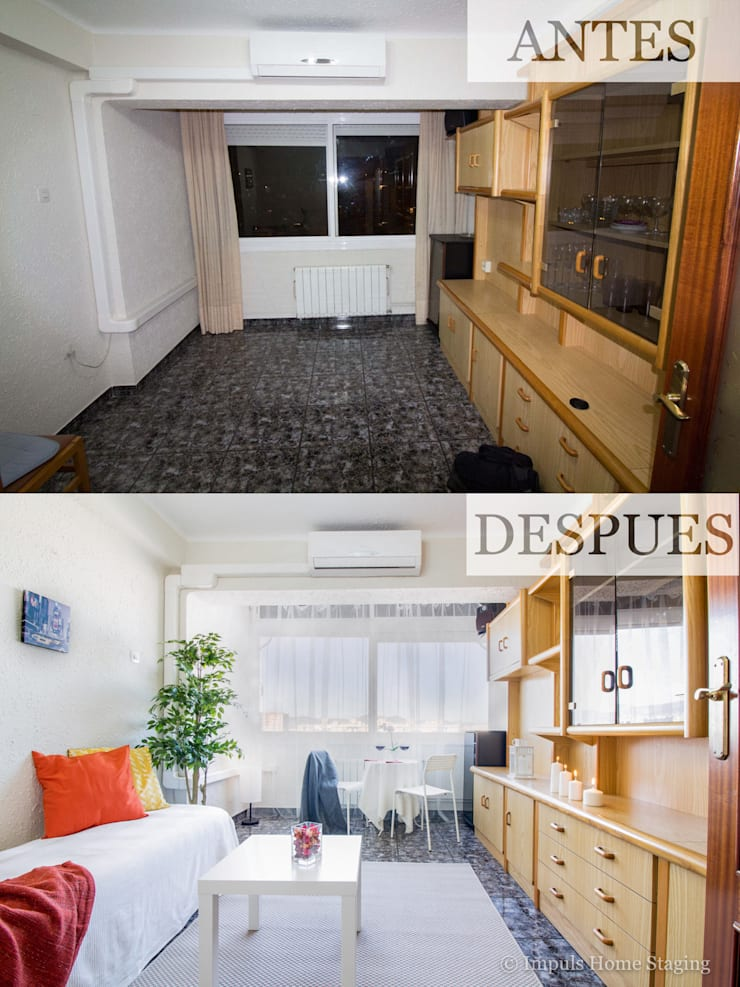 "Home Staging ""low cost"" en salón:  de estilo  de Impuls Home Staging en Barcelona"