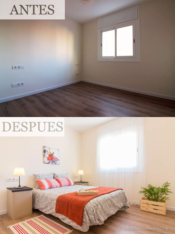 Home Staging en dormitorio con colchoneta inflable:  de estilo  de Impuls Home Staging en Barcelona