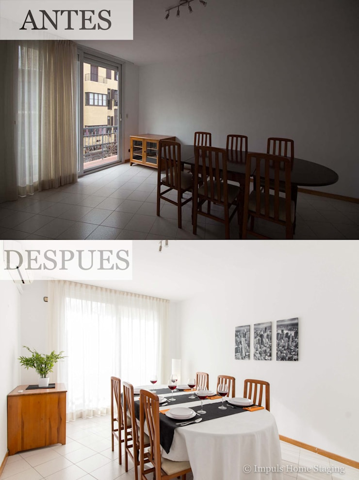 "Home Staging ""low cost"" en comedor:  de estilo  de Impuls Home Staging en Barcelona"