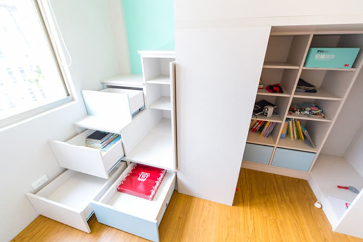 小孩房儲物:  嬰兒/兒童房 by 果仁室內裝修設計有限公司