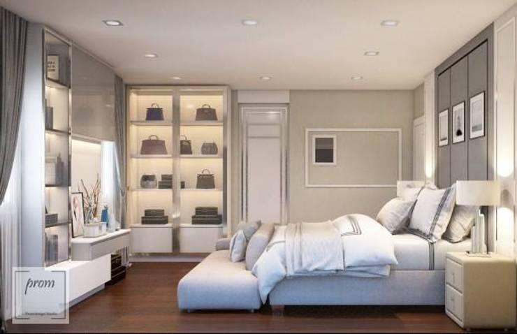 งานออกแบบห้องนอนและห้องแต่งตัว คุณจูน พระราม 2:   by Promdesign Studio