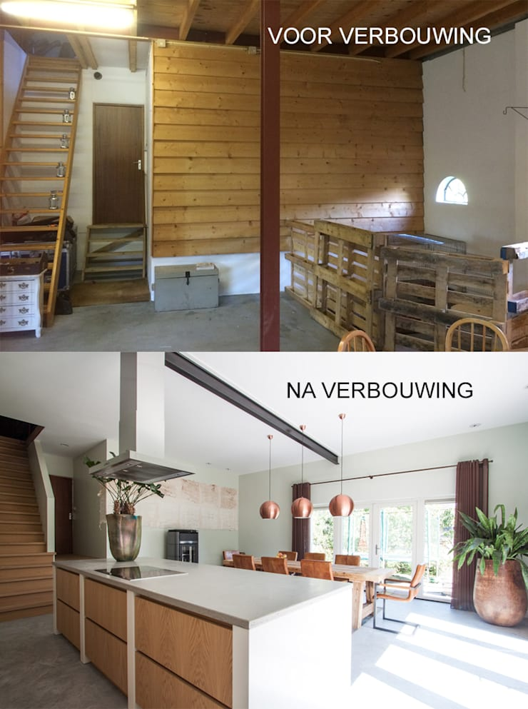 Verbouwing van stal tot woonkeuken:  Keuken door Joolsdesign, Landelijk