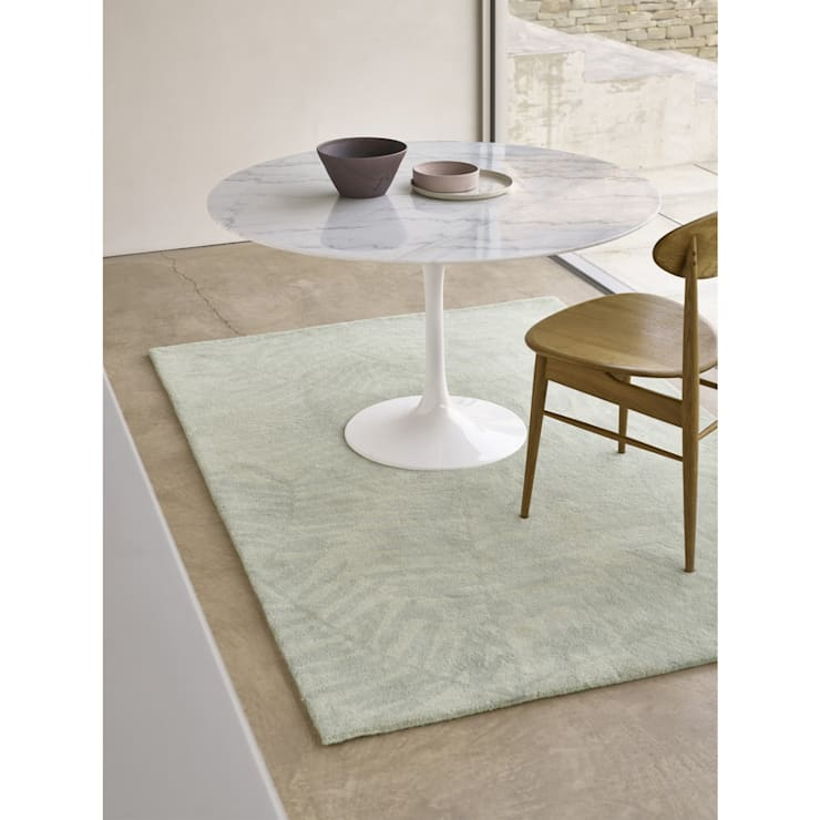 Bonsoni Pedro Leaf Subtle Design Palm Hand Tufted Blue/Grey 100% Wool Rug 150 x 230cm:  Walls & flooring by Bonsoni.com
