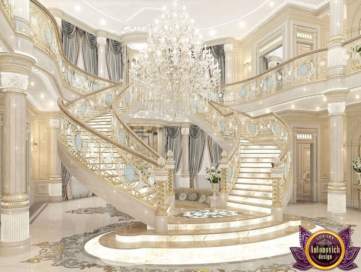 ​Palace interiors from Luxury Antonovich Design:  Corridor & hallway by Luxury Antonovich Design