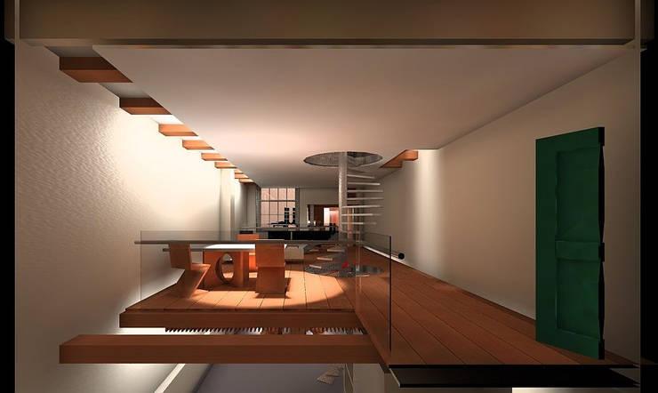 Zitkamer:  Eetkamer door Hugo Caron Architecten bna, Modern