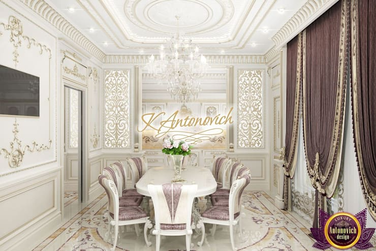   Luxurious kitchen design from Katrina Antonovich:  Dining room by Luxury Antonovich Design