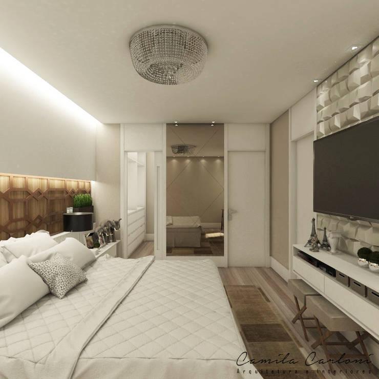 Projekty,  Sypialnia zaprojektowane przez Camila Carloni - Arquitetura e Interiores