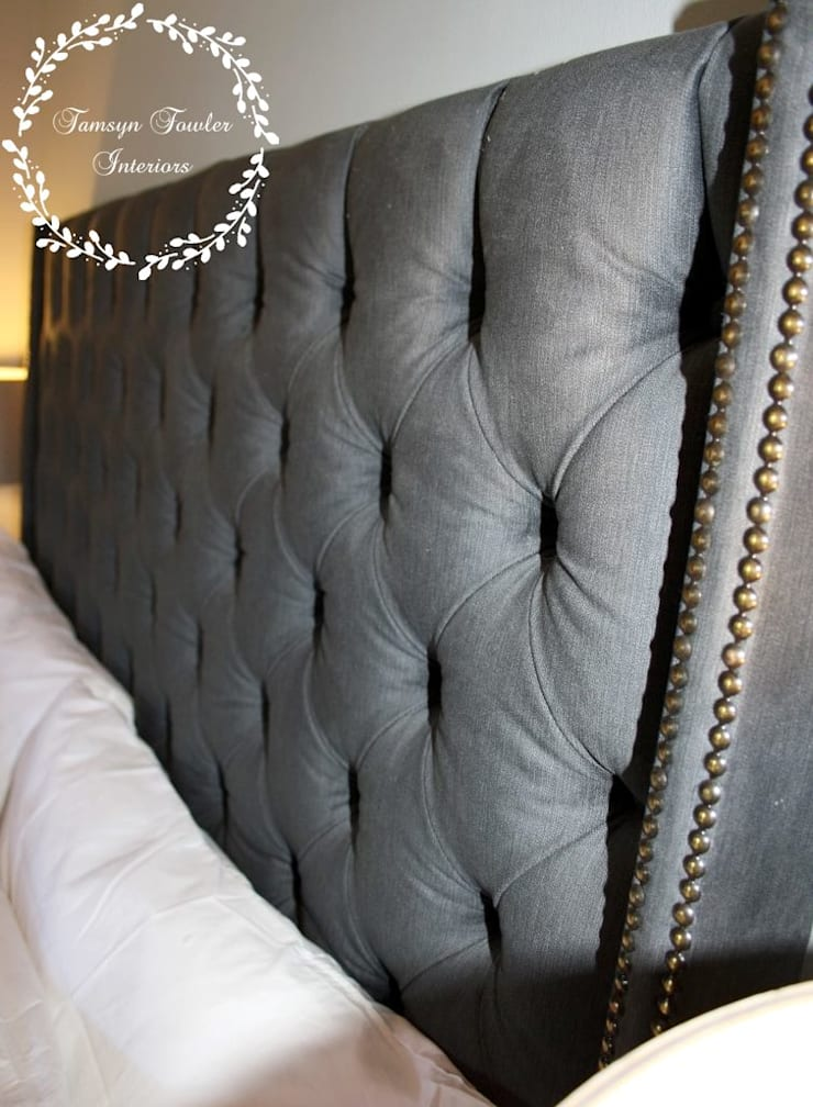 Master Bedroom: Shades of Grey:  Bedroom by Tamsyn Fowler Interiors