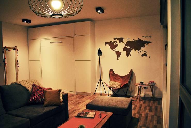 Cama rebatible cerrada + Guardado:  de estilo  por MINBAI,Moderno Madera Acabado en madera