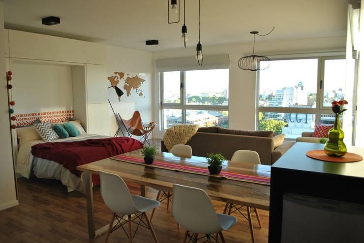 Living + Cama rebatible abierta:  de estilo  por MINBAI,Moderno Madera Acabado en madera