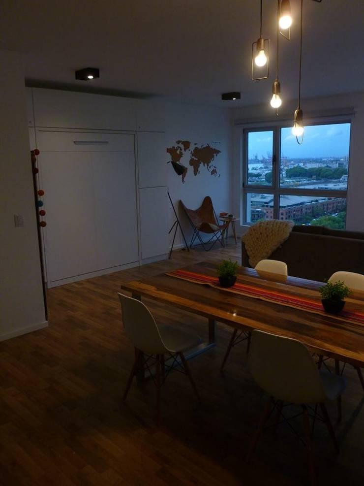Living + Cama rebatible:  de estilo  por MINBAI,Moderno Madera Acabado en madera