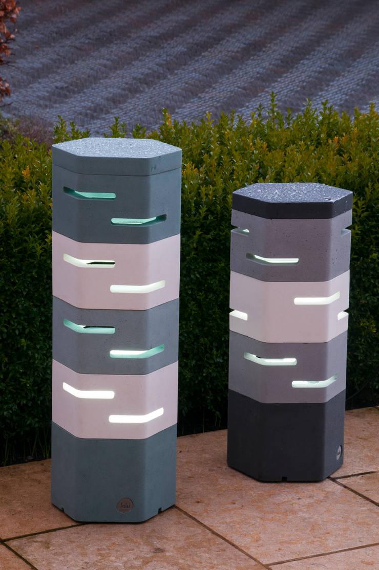 Holix III in Charcoal Lustre, Grey Mist and Vanilla Ice alongside Holix IV:  Garden  by Jalu Ltd