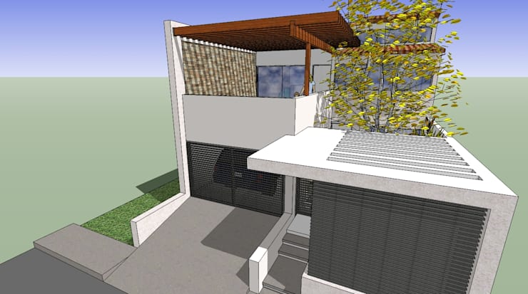Detalle de pergola de concreto: Casas de estilo moderno por MARATEA Estudio