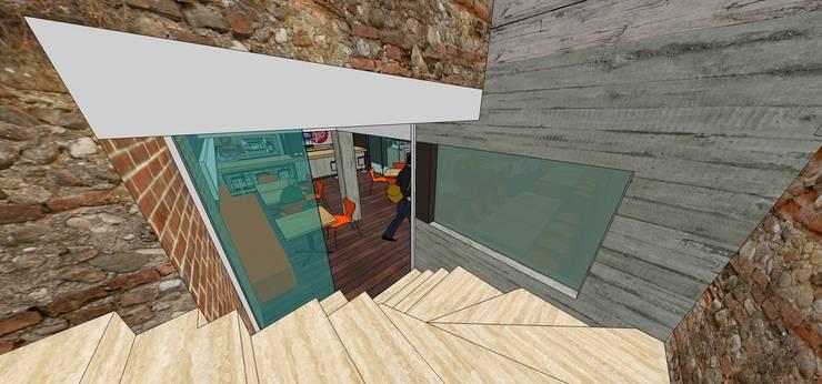 Escalera de acceso: Restaurantes de estilo  por MARATEA Estudio