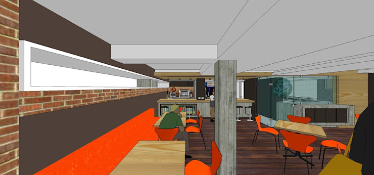Vista desde la entrada: Restaurantes de estilo  por MARATEA Estudio
