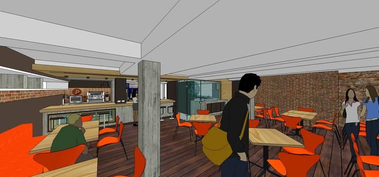 Área de mesas: Tiendas y espacios comerciales de estilo  por MARATEA Estudio
