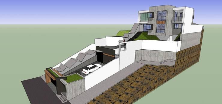 Vista externa con cubiertas externas: Casas de estilo minimalista por MARATEA Estudio