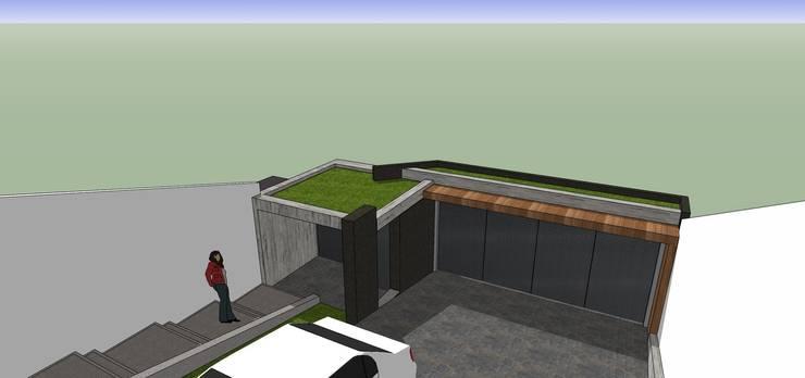 Vista interna del portón de acceso: Casas de estilo minimalista por MARATEA Estudio