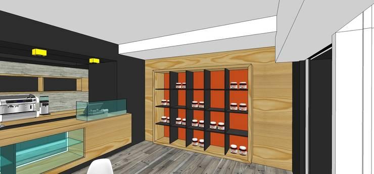 Mueble para exhibición de productos: Restaurantes de estilo  por MARATEA Estudio