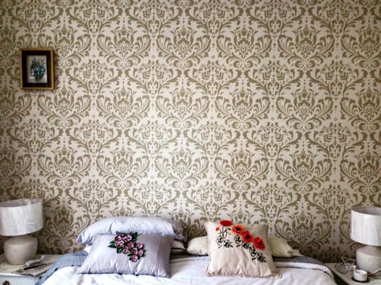 Damask Stencil in Beige (Venus) : modern Bedroom by Beautiful Changes