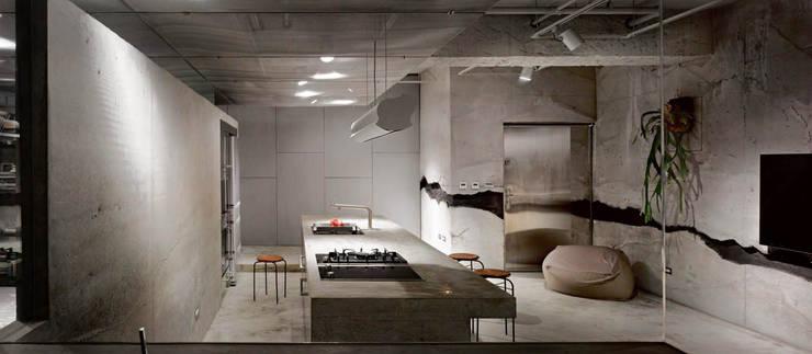 主人喜料理,開放廚房與中島,賓主盡歡。:  廚房 by 本晴設計