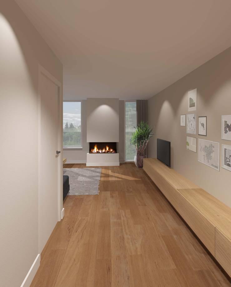 3d impressie 3 woonkamer/haard:  Woonkamer door Anne-Carien Interieurarchitect