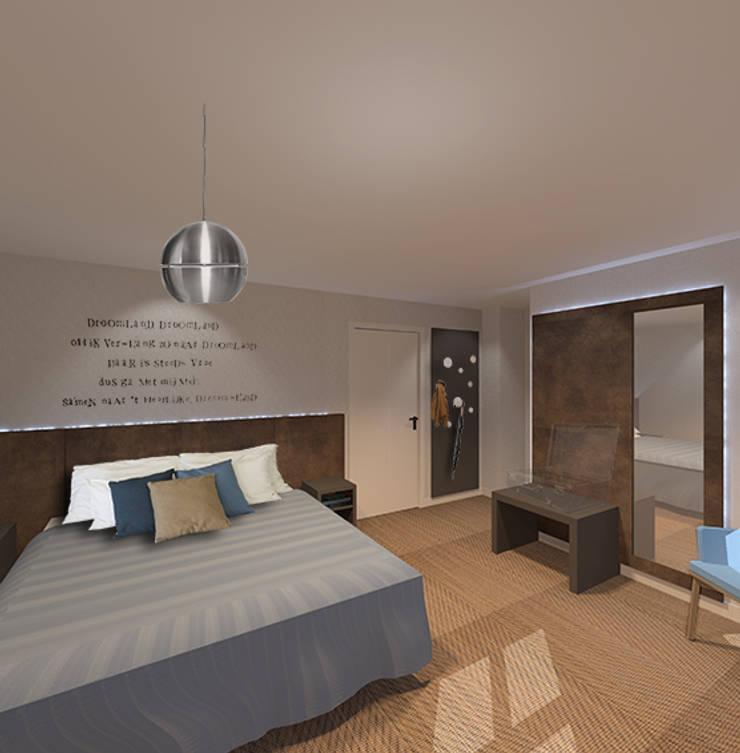 3d impressie 1 hotelkamer:  Hotels door Anne-Carien Interieurarchitect, Modern
