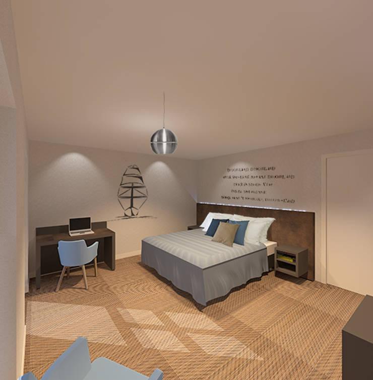 3d impressie 2 hotelkamer:  Hotels door Anne-Carien Interieurarchitect, Modern