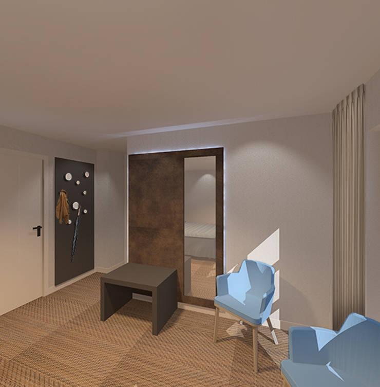 3d impressie 3 hotelkamer:  Hotels door Anne-Carien Interieurarchitect, Modern