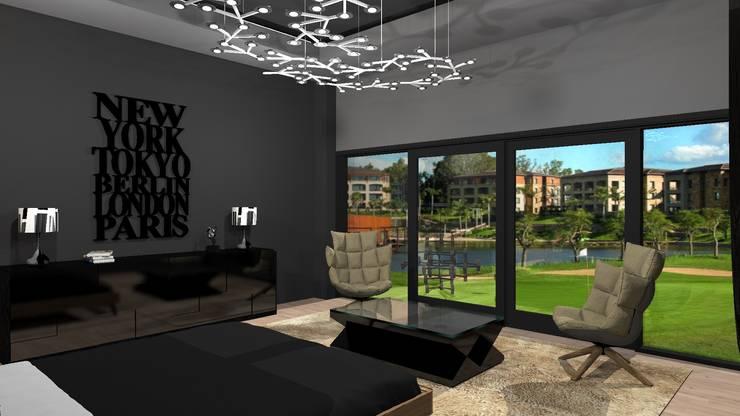 Diseño de vivienda unifamiliar en barrio cerrado Los Cardales: Dormitorios de estilo  por Diseño de Locales,