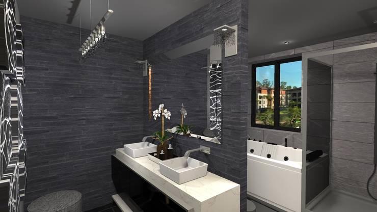 Diseño de vivienda unifamiliar en barrio cerrado Los Cardales: Baños de estilo  por Diseño de Locales,