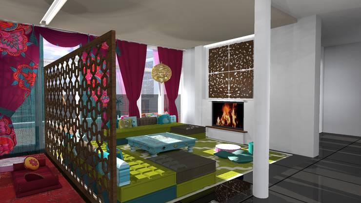 Diseño de vivienda unifamiliar en barrio cerrado Los Cardales: Livings de estilo  por Diseño de Locales,