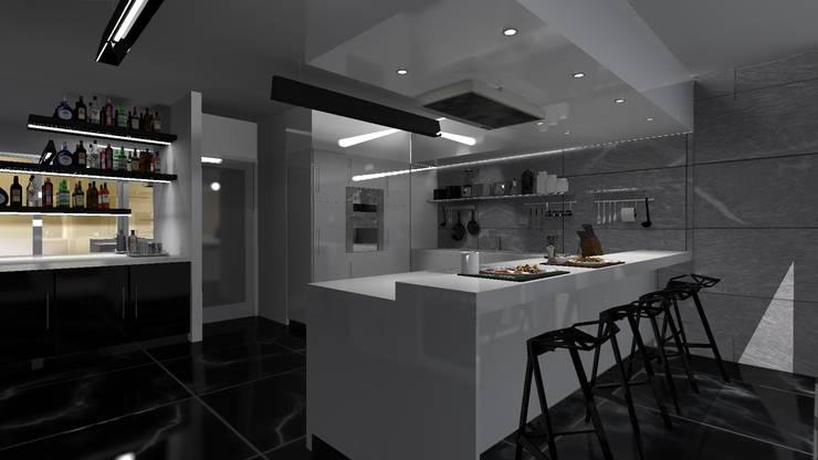 Diseño de vivienda unifamiliar en barrio cerrado Los Cardales: Cocinas de estilo  por Diseño de Locales,