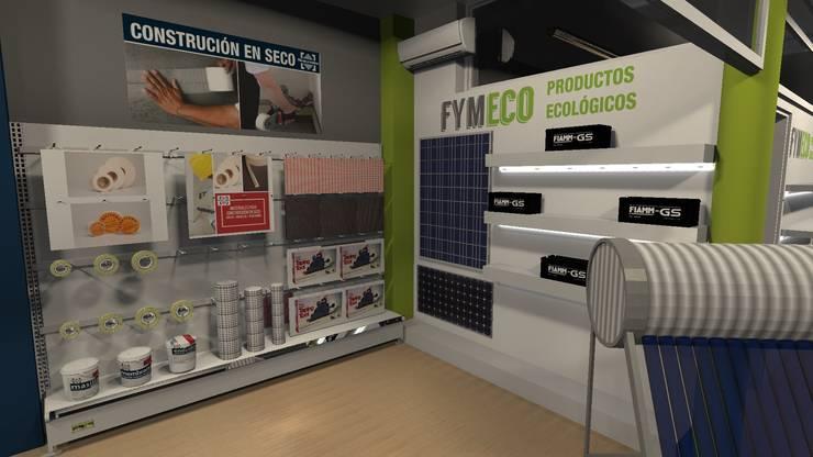 Showroom para la empresa Fibras y Mallas: Oficinas y Tiendas de estilo  por Diseño de Locales