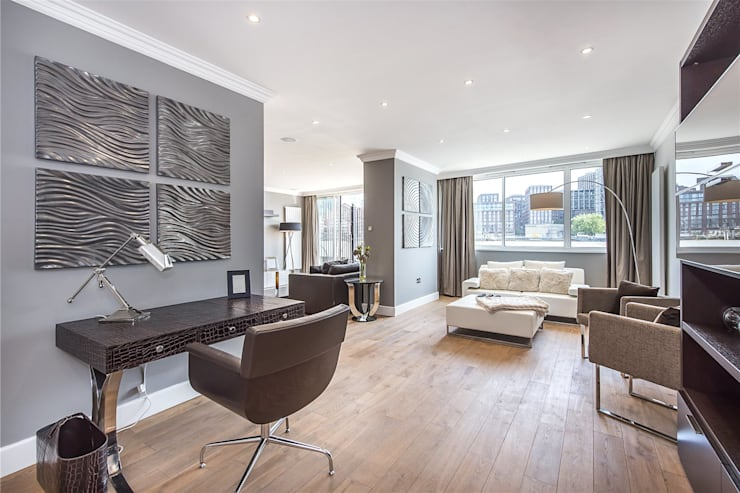 The Icon, Grosvenor Road, London, SW1V: modern Living room by APT Renovation Ltd
