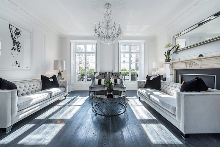Victoria Square, London SW1W:  Living room by APT Renovation Ltd