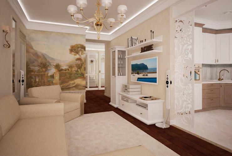 Трех-комнатная квартира в сталинке: Гостиная в . Автор – dessein