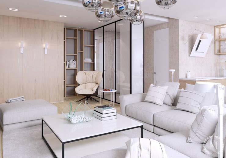 Salas de estilo minimalista de 'Студия дизайна Марины Кутеповой' Minimalista Madera Acabado en madera