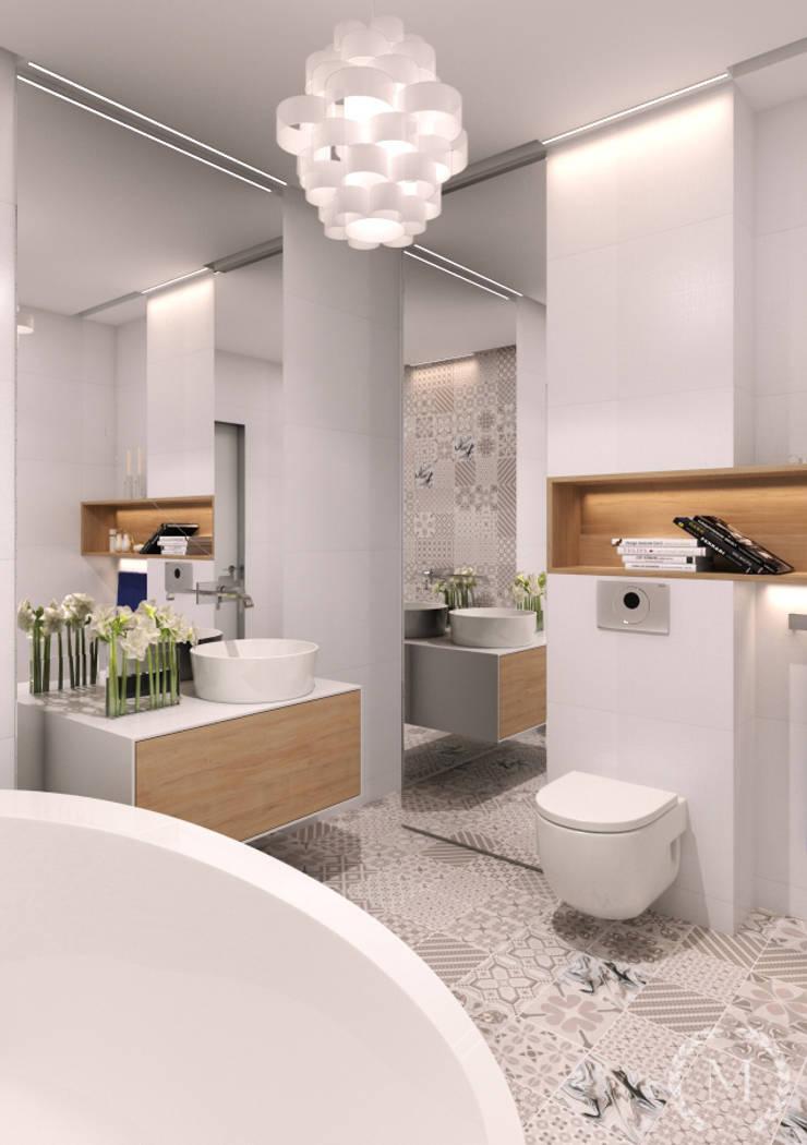 Baños de estilo minimalista de 'Студия дизайна Марины Кутеповой' Minimalista Granito