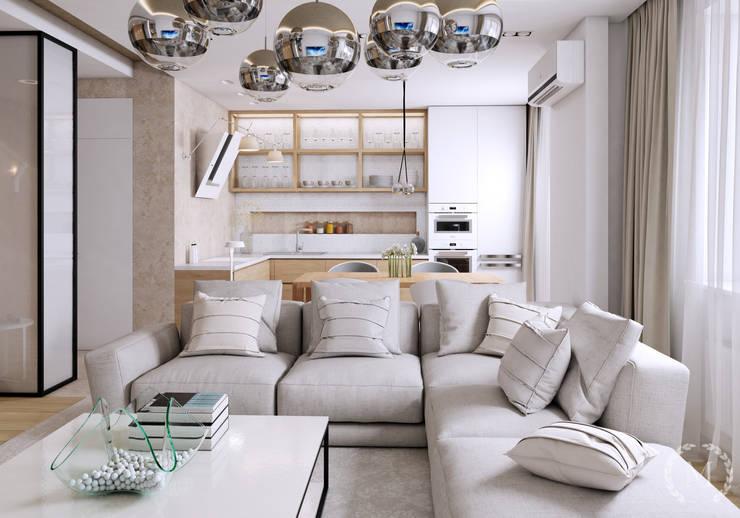 Salas de estilo minimalista de 'Студия дизайна Марины Кутеповой' Minimalista Plata/Oro