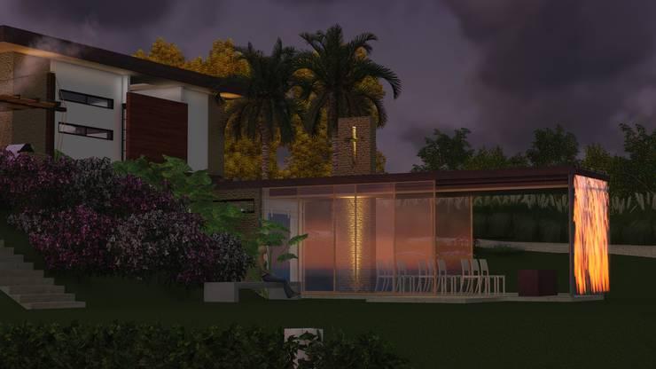 Oratorio al atardecer: Jardines de estilo  por Leo Velandia Arquitectos, Rústico Vidrio
