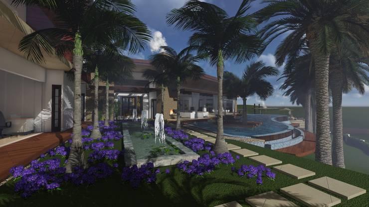 Fuente y jardin: Jardines de estilo  por Leo Velandia Arquitectos, Rústico Piedra