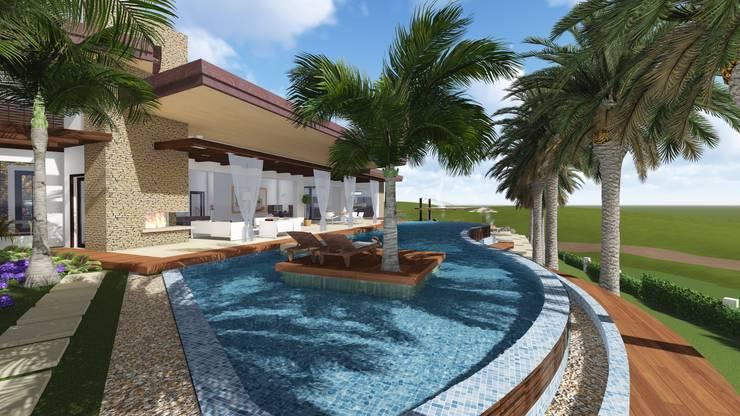 Piscina con isla: Piscinas de estilo  por Leo Velandia Arquitectos, Rústico Azulejos