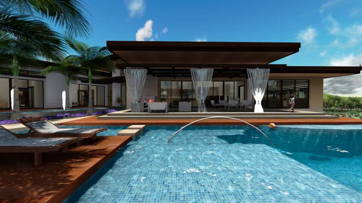 Espejo de agua en la piscina: Piscinas de estilo  por Leo Velandia Arquitectos, Rústico Madera Acabado en madera
