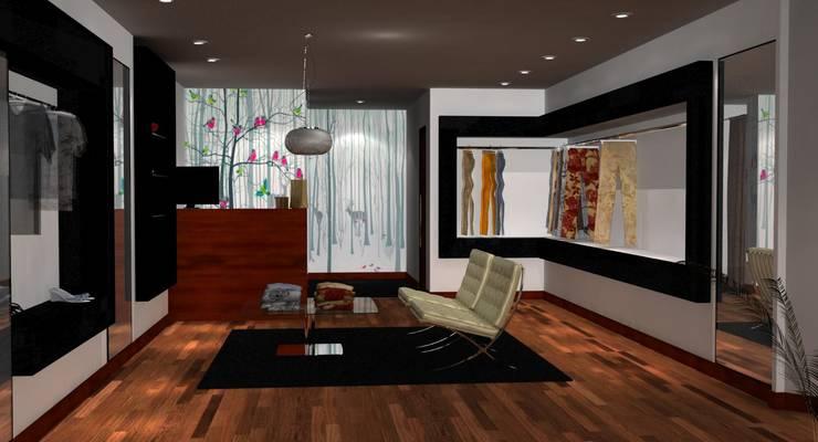 Vista interior del local comercial: Oficinas y locales comerciales de estilo  por Hornero Arquitectura y Diseño