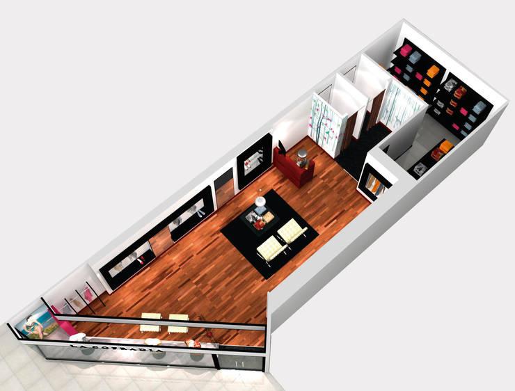 Vista general del proyecto de local comercial: Oficinas y locales comerciales de estilo  por Hornero Arquitectura y Diseño